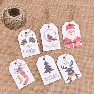50pcs de Natal Kraft Paper Tag Com Corda Handmade DIY Artesanato Asa Etiqueta Ano Novo presentes Decor Xmas Party Supplies Envolvendo