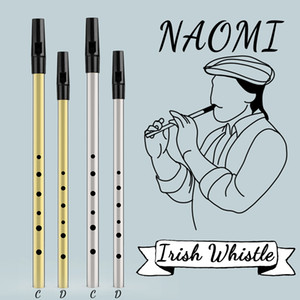 NAOMI Brass Key Irish Whistle Flauto Alto C / D Ireland Flute Tin Penny Whistle strumento musicale Hole 6