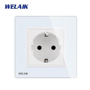 WELAIK Fabricante-europeu-Standard Power-soquete Glass-Painel Wall-socket-UE Wall-Outlet-White-Wall-soquete 16A AC110 ~ 250V A18EW