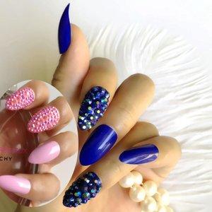 Personalizzato Crystal diamante blu di pressione rosa unghie finte lungo eccellente bara ballerino personalità della moda modellazione flase unghie