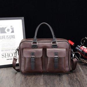 Leather Men's Bags Business Men's Fashion Handbags Hand His Briefcase Single Shoulder Bag Office Bags for Women Briefcase Women