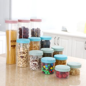 Convenient 300 500 700 1100 1800ml Platstic Transparent Storage Jar Round Sealed Tank Cereal Containers Caddy XH8Z OC31