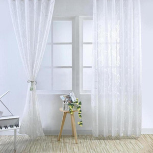 Bubble Leaf Pattern Window Sheer Curtain for Bedroom Living Room 100x270cm 2020