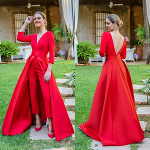 Elegant Women Red Jumpsuits Prom Dresses With Detachable Overskirt Sexy Open Back Deep V Neck Long Sleeve Formal Evening Gowns Custom Made