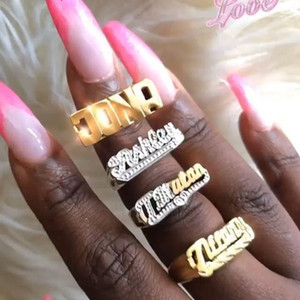 3UMeter 2020 New Personality Hip Hop Ring Women Custom Name Ring Gold Fashion Punk Letter Ring Gift