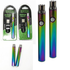 510 della discussione Vape Pen Batteria Vertex Arcobaleno Batterie Preriscaldare Batteria Blister 350mAh regolabile Tensione USB Charger atomizzatori
