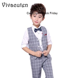 Flower Boys Suit for Weddings Prom Birthday Party 3-12Y Children Slim Fit Suit Sets Boys Tuxedo Formal Vest Pants Costume F200