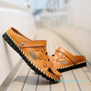 Men Casual Sandals 2018 Summer Men Leather Beach Sandals High Quality Sandale Homme Flat Shoes Sandalias Para Hombre Size 38-44 #56770 t08