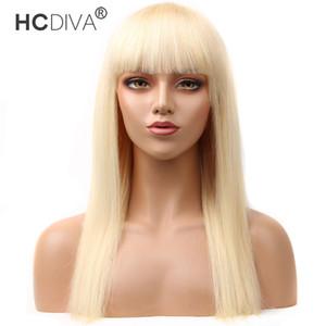 613 Sarışın Bob Peruk Şeffaf Kısa Bang İnsan Saç Bob Peruk Brezilyalı Düz Vücut Waav Remy saç% 150 Yoğunluk Ücretsiz Kargo