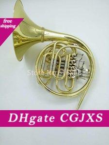 Alta calidad de doble hilera 4 Clave trompa B a F Tune trompa con el caso del oro Laca superficie Cuerno musical del envío libre Instrumento