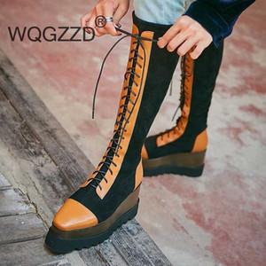stivali alti in pelle di mucca colore misto pizzo gregge SCARPE DONNA up tenere in caldo spessi tacchi alti inferiori si estendono coscia stivali