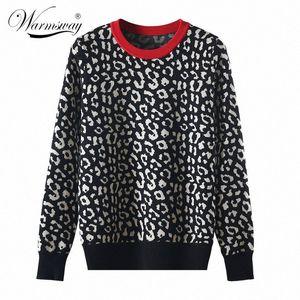 mujer C-429 Y200116 gvfq # sweter Sonbahar kış kadın kazak leopar örme kazak uzun kollu Kontrast Renk Crewneck jumper