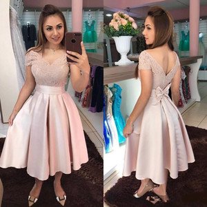 Alças rosa Prom Vestidos Homecoming V Neck Knot Lace plissados ​​mangas curtas formal do partido Prom doce 16 Vestidos Cocktail