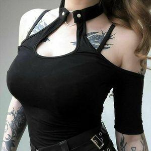 Women Summer Gothic Tops Sexy Ladies Casual Off Shoulder Halter Neck Slim Chain Punk Crop Vest Tops Hot