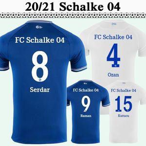 20 21 Schalke 04 Mens Soccer Jerseys Caligiuri Mascarell Serdar Bentaleb Accueil Blue Away Blanc Chemise de football Blanc Ensmes d'uniformes