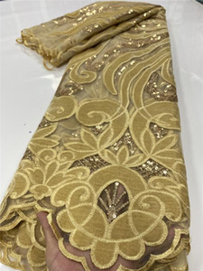 Gold Nigerian Velvet Lace Fabrics 2020 High Quality Lace African French Sequins Fabric For Wedding Dress Sewing YA2668B-5