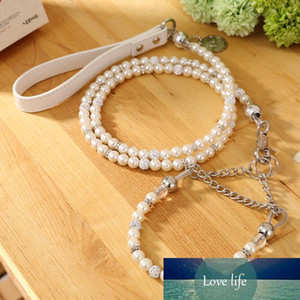 [Moccapet ]New Silver Pearl Pet Collar Leash Set Dog Collar Dog Leash Pet Supplies Dog Collars For Small Dogs