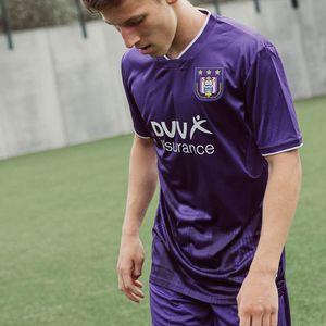 Андерлехт футбол Джерси дома фиолетовый 20/21 Мужские рубашки футбола Андерлехт короткий рукав настроить футбольные формы