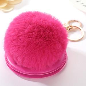 Moda multi colore pompon specchio chiave catena PU specchio da trucco e portachiavi per signora