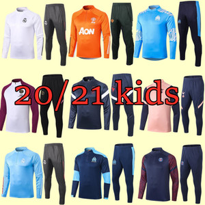 Kinder Trainingsanzug gesetzte Jungen Schuhe Kleidung Fußball Kinder Jogginganzug Kinder 20 21 Fußball-Kits retro Fußballjersey-Fußballtrainingsanzug Trikots
