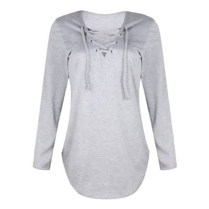 New Style Solid Solor V-neck Strapped Long Sleeved Sweatshirts Loose Sweater T-shirt For Autumn And Winter