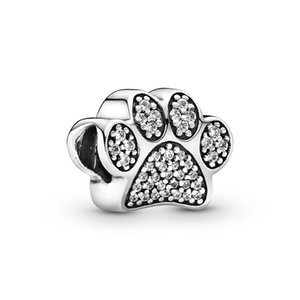 Authentic 925 Sterling Silver Sparkling Dog Paw Print Charm Beads 2020 New DIY Designer Charms for Fashion Jewelry making Pandora Bracelets