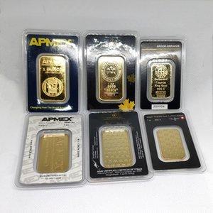 1OZ APMEX las barras de oro Argor Heraeus Swizerland RCM APMEX 1 onza Troy chapado bar regalos de visita del metal de la insignia no magnético envío libre de DHL