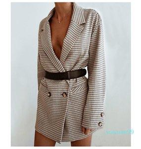 Hot Sale elegant plaid blazer dress winter autumn women long sleeve oversized jacket office lady wrap bodycon casual streetwear