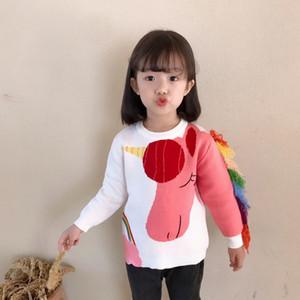 Tatlı Bebek kazak Kış Çocuk kız kazak örme karikatür Clthing yürümeye başlayan Noel Giyim yaka o