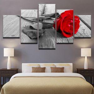 HD Decoração Canvas Pictures Sala Modern 5 Painel Rose Red Flowers Impresso Pintura Quadro Modular Wall Art Poster