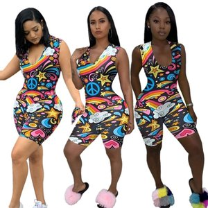 Women Jumpsuits & Rompers sexy & club gym elegant summer clothing spaghetti strap sleeveless shorts bodysuits sheath column jogger 0389