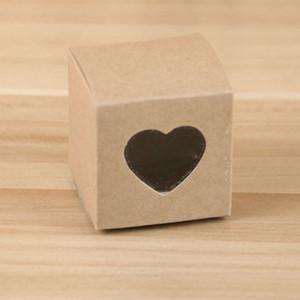 (100 parti / lotto) 5x5x5cm Piazza Kraft Paper Box con finestra Cuore per bomboniera regalo di nozze e del partito e contenitore di torta Piccolo