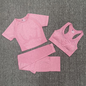 Diseñador de moda para mujer algodón yoga traje gymshark sportwear chándalsuits fitness deporte triple pieza pantalón sujetador camisetas camisetas leggings soporte de color