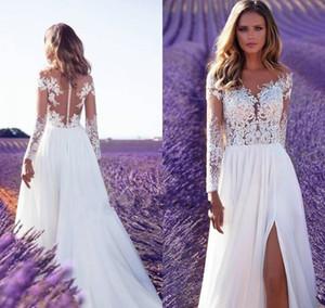 2020 New Cheap Bohemian Lace Wedding Dresses Beach Sheer Neck Appliques Wedding Dress Long Sleeves Backless Bridal Gowns Robe de mariee