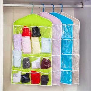 Portátil Bra Underwear Organizer Hanging Bag 16 Pockets Poliéster Shoes cremalheira Salvar Espaço Multifuncional Limpar Hanging Organizer