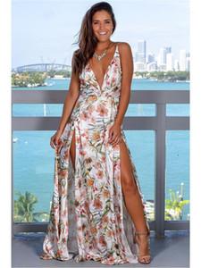 Casual Designer Vestidos Womens Floral Sem Costas Verão Spaghetti Strap V Neck elegantes Womens Maxi Vestidos Beach Split vestidos de cintura alta magros