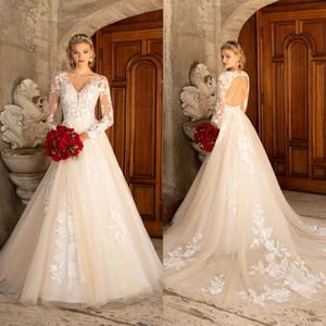 Kitty Chen 2021 Wedding Dresses A Line Lace Appliqued Bridal Gowns V Neck Long Sleeve Hollow Back Wedding Dress Vestidos De Novia