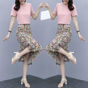 Chiffon floral dress women's short sleeve summer new purple set Dress Fishtail skirt fishtail skirt small two-piece set