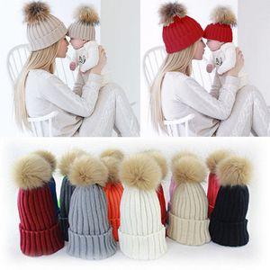 1 Pcs Mother Child Baby Family Match Warm Winter Knit Beanie Fur Pom Hat Crochet Ski Cap Hat