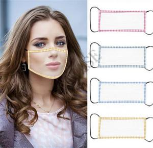 DHL Frauen Clear Face Mask TPU Transparent Masken Visible Lippen Deaf Mute Lippenablesen Hörbehinderung Deaf Teaching Masken Cover 4 Farben D8512