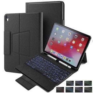 cgjxsKeyboard Caso retroiluminado para Ipad Pro 12 0,9 2018 con el lápiz soporte del sostenedor teclado inteligente cubierta de la caja del folio con el inalámbrica Bluetooth