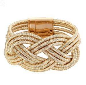 New Arrival! Fashion Wide Women Weave Chain Wristband Silver Leather Bracelet for Women Classic Bracelets Bangle Jewelry