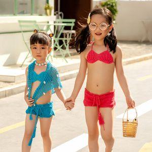 Tığ Kız Mayo Tankini İki adet Suit Halter Bikini 2020 Çocuk Yaz Beach Wear Çocuk Mayo Bikini