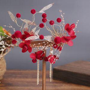 AMxWz mariage nuptiale florale 2020 de nouveaux vêtements toast rouge chinois coiffe de bande Accessoires de cheveux de fleurs coiffe super bande de cheveux de fées de Weddi