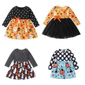 Kind-Mädchen-Halloween-Kleid Striped Karikatur druckte Kleid Kürbis Langarm TUTU Kleid Big Girls Outfits Teens Festival Kleidung 060828