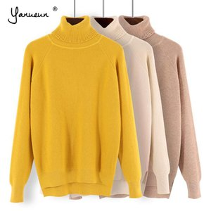 Yanueun Turtleneck Sweaters All Base Match Loose Solid Women Soft Sweater Pullovers Autumn Winter Sweater For Women Y200819