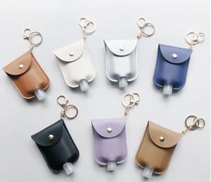 STOCK Кожа PU дезинфицирующее средство для рук держатель бутылки с пустой бутылки многоразового Многоразовые наручные Key Chain Hand Soap бутылки держатель для Backpack