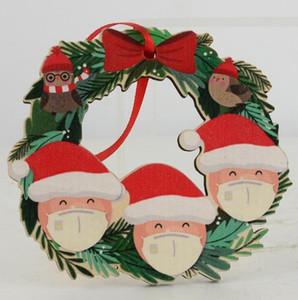 2020 الحجر عيد الميلاد زخرفة شجرة عيد الميلاد خشبي ثلج معلقة معلقة بابا نويل اسم الديكور DIY عائلة من 2-6 GGA3742