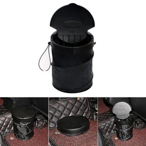 Car Trash Bin Dust Case Black Collapsible Folding Garbage Can -up Hook Hanging Cover Fold Car Organizer Large Capacity