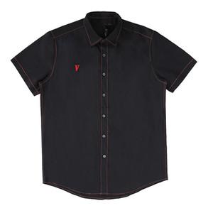 Vlone Мужские рубашки платья вскользь T рубашки мужские рубашки моды Classic Black White Mens Короткие рукава Размер S-XL